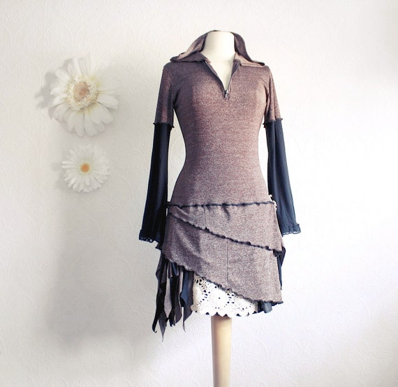 Brown Hooded Dress Upcycled Clothing Black Bell Sleeves Bohemian Style Fall Fashion Ladies Clothes Boho Chic Medium Large 'JUNO'