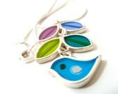 Turquoise bird necklace , vine necklace , leaf necklace ,  sterling silver , resin