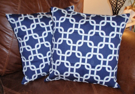 """Throw Pillow Covers - 16x16"""" Set of 2 sewn with Premier Prints Gotcha Twill in Navy - Geometric Squares in White on Navy Blue Pillow Covers"""