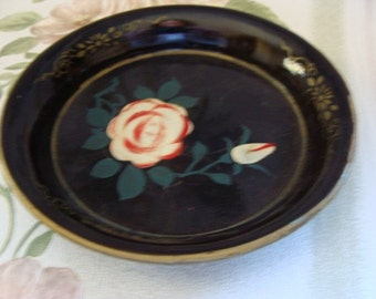 Gorgeous Antique Hand Painted Coin Tray