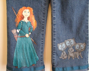 Custom Disney clothing Painted  Brave 2 character Jeans sizes 12m to24m - 2T -12