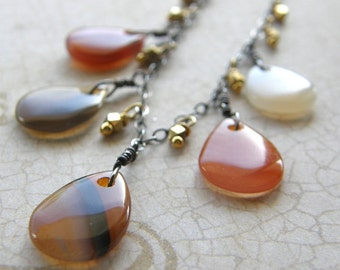 Red Agate Teardrop Necklace, Extra Long Chain Necklace, Mixed Metals Gold and Silver Necklace, Boho Rustic Orange Necklace