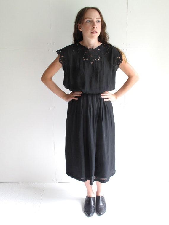 Black Floral Cut Out Dress Medium