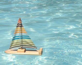 Fun Stripes Wooden Sailboat