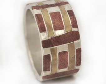 Fine  Silver, copper and brass ring
