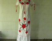 VINTAGE embroidered hippie gauze dress... lovely floral maxi