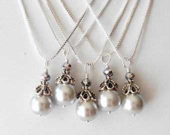 Gray Pearl Bridesmaid Necklace, Vintage Style Beaded Pendant in Antiqued Silver, Mercury Wedding Jewelry, Bridal Party Jewellery Set