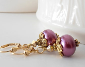 Plum Pearl Earrings in Gold, Bridesmaid Jewelry