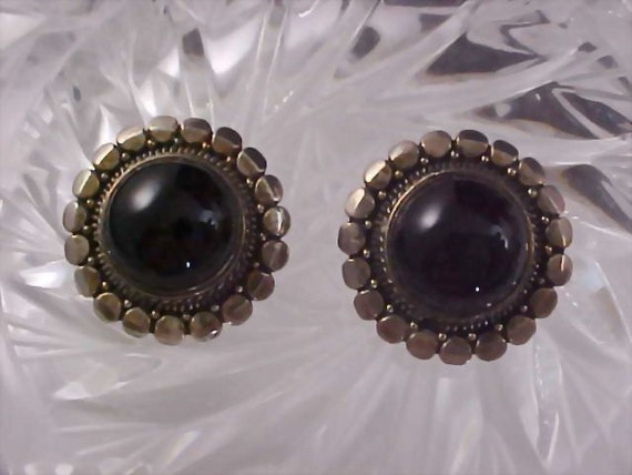 VINTAGE Onyx Cabochon  STERLING  - 925 Circa 1950 Clip Earrings