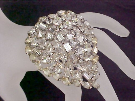 Vintage Juliana Crystal Baguette -  Marquise and  Round Cut Diamante in Silver Rhodium