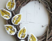 Fabric Leaf Wreath - Mustard Yellow and Winter White (RESERVED for TraciDavies)