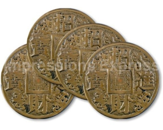 Chinese Fortune Coin Coasters - Set of 4