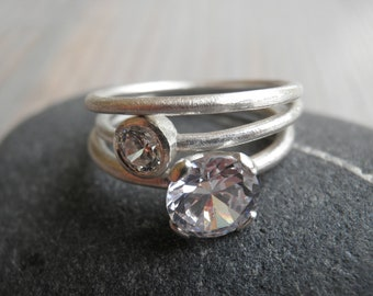 Engagement Rings Set, Stacking Rings, Vintage Inspired Classic Clear Zirconia Rings, Sterling Silver Rings, Statement Rings, Bridal Jewelry