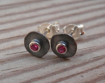 Ruby studs, Round Silver Earrings, Small Silver Stud Earrings, genuine Ruby Post Earrings, Every Day Sterling silver studs