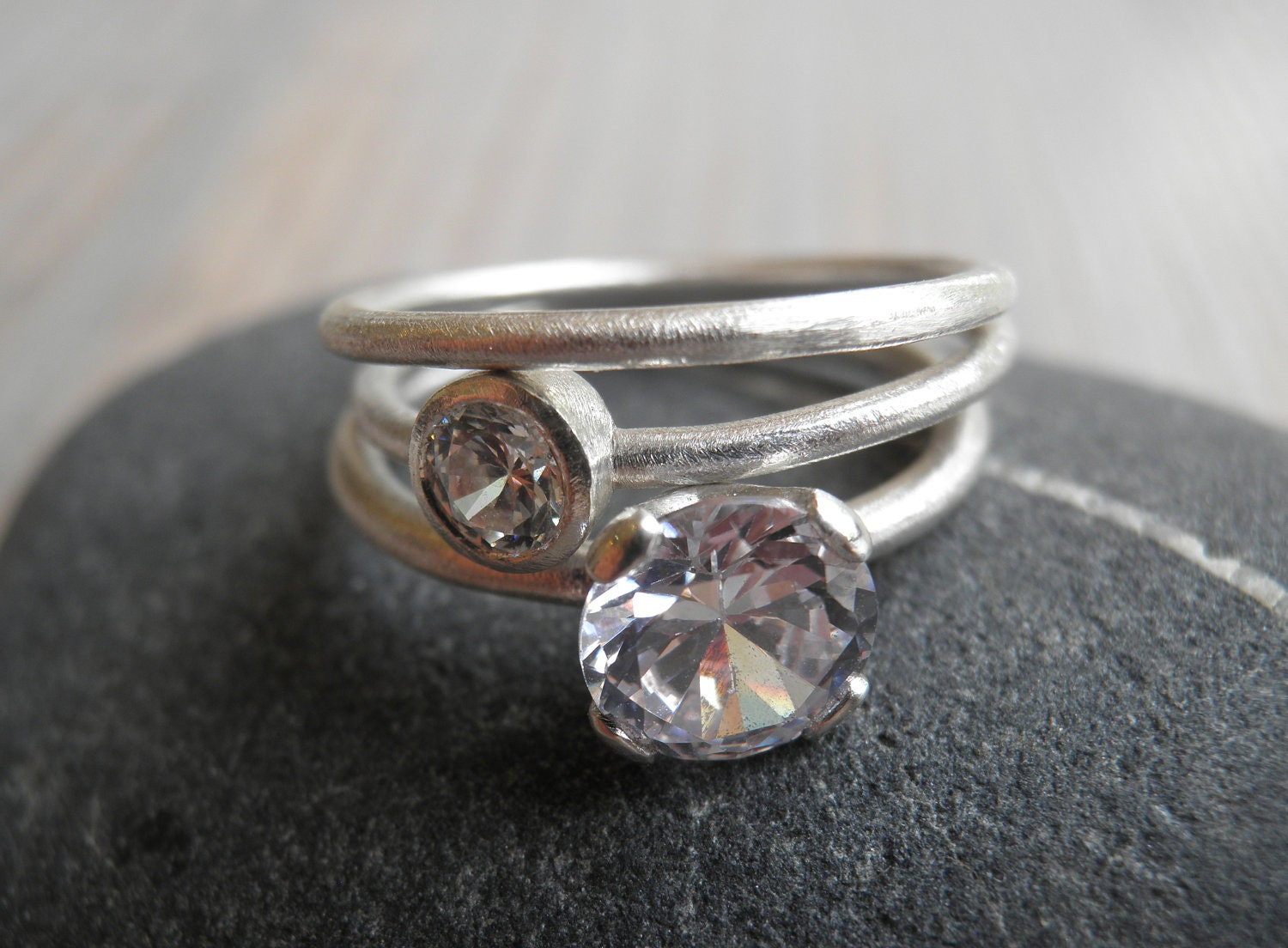 Engagement Rings Set Stacking Rings Vintage Inspired Classic