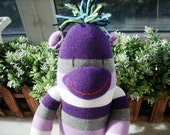 New handmade Purple Sock Monkey  brithday gift