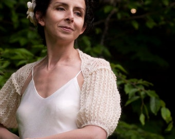 Wedding Bridal Ivory Shrug Bolero Hand Knit Lace Lacy Puff Sleeve Luxury Shrug Bride Accessoriess Estonian Lace OOAK Off White Ecru