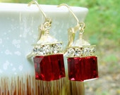 Red Crystal Earrings, Garnet Swarovski, Gold Filled, Bridesmaid Wedding Handmade Jewelry, January Birthday, Birthstone , Ready To Ship