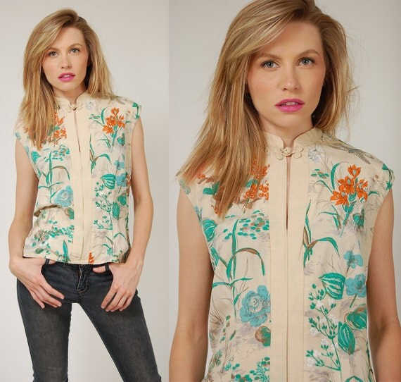 RESERVED for ewermine2 Vintage 60s Blouse ASIAN Inspired SILK Floral Top
