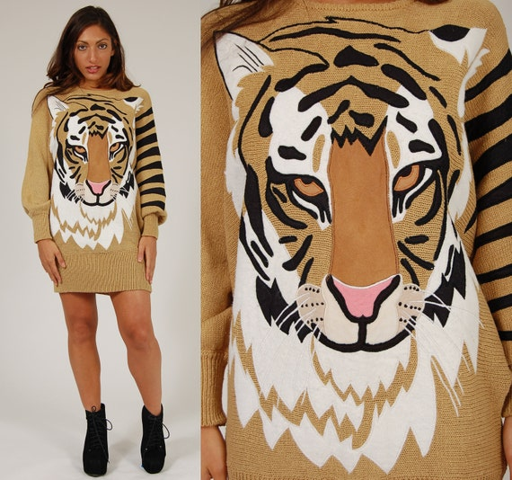 Vintage 80s Sweater OVERSIZED TIGER Dolman Sleeve Jumper / Sweater Dress S/M