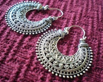 Tribal Filigree Ethnic Gypsy Earrings Silver Brass Gold Tone Dangle Hoop Spiral Detail Funky Unique 20 18 gauge 1mm Normal Standard Piercing