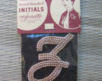 50s Imitation PEARL Applique Sew On INITIAL  Z  1950s Dead Stock New Old  Japan