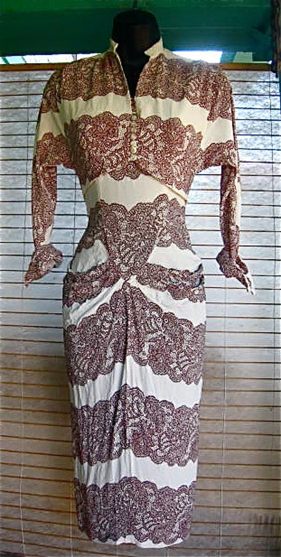 RARE 40s 50s LACE Printed RAYON Dress With Bolero Size XSmall
