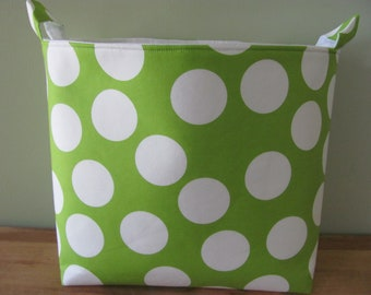 XL EXTRA LARGE Fabric Organizer Basket Storage Container Bag Bucket Toy Bin - Home Decor - Nursery - Kids Room - Green Big Dots