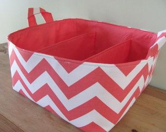 "Diaper Caddy - Fabric Storage Basket - 11""x11"" Organizer Bin - Storage box - Diaper Bag - Baby Gift - Nursery Decor - Coral Chevron Zigzag"