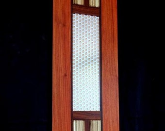 "Tall Cocobolo and Padouk Wall Art w/ Metal and Zebrawood Accents ""Tall Drink"""