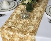 Gold Satin Ribbon Rosette Wedding Table Runner