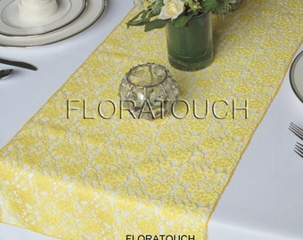 Yellow Lace Wedding Table Runner