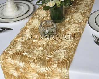 Gold Satin Ribbon Rosette Wedding Table Runner
