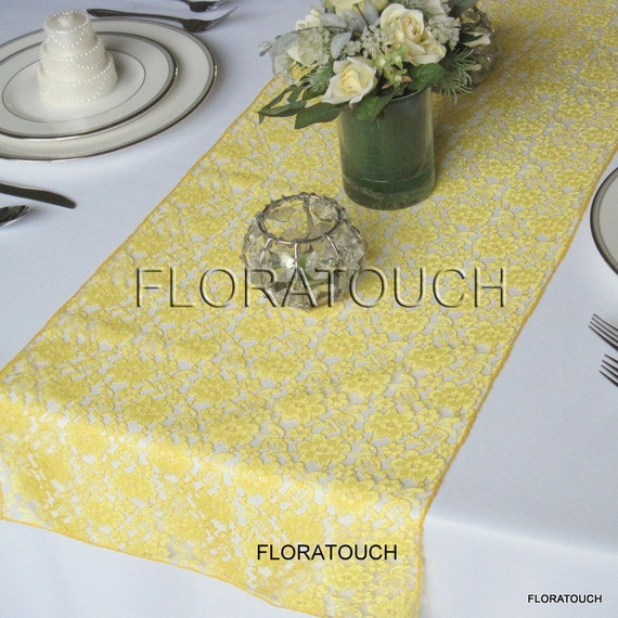 Runner wedding  floratouch Wedding Etsy Yellow on Table by yellow table Lace runner