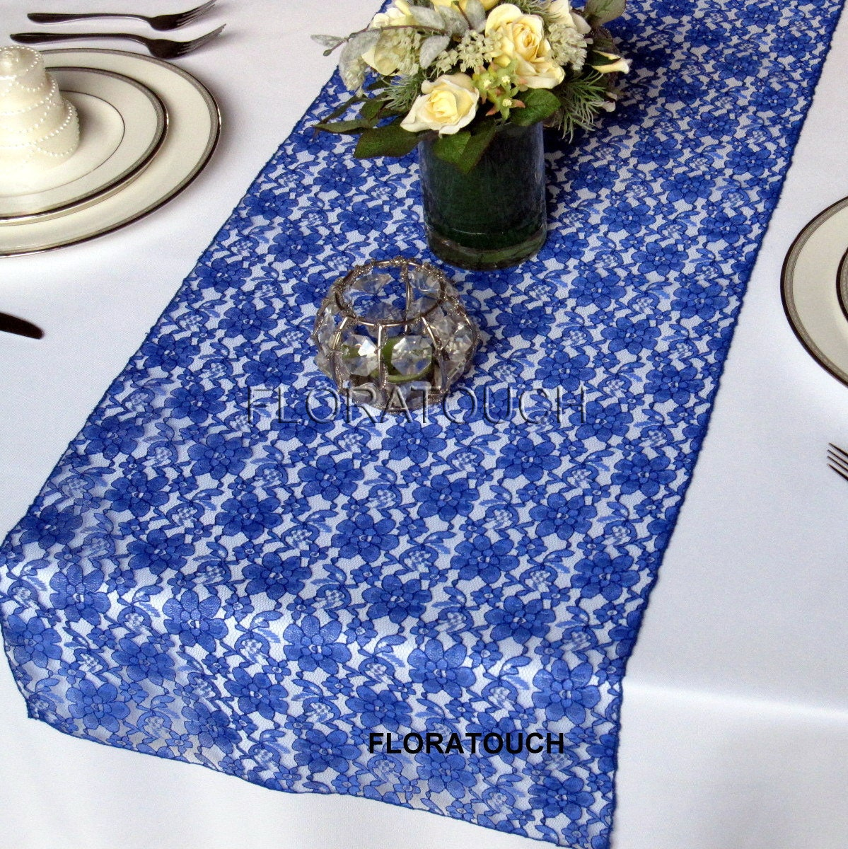 royal blue lace wedding table runner