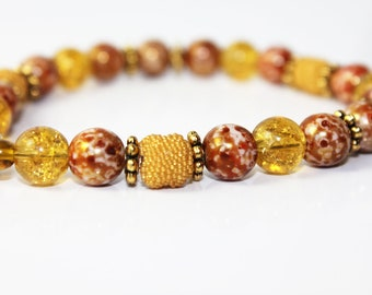 Golden Yellow and Copper Brown Beaded Bracelet