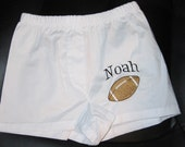 Monogrammed Embroidered Boys Boxers Diaper Cover with Football