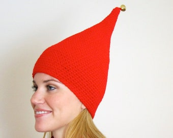 Red Pointy Elf Hat with a Bell - Mens Womens Childrens Hat
