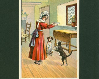 Childrens Old Nursery Story Antique 1892 Dame and Cat Print