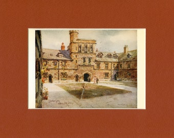 1926 Vintage Print of Middle Gate Winchester College Hampshire England