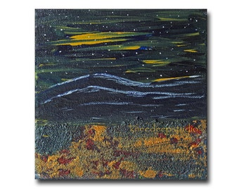 Abstract Landscape Painting Midnight Sky Original Acrylic on Canvas 6x6 Modern Expressionist mountains contemporary art for small space