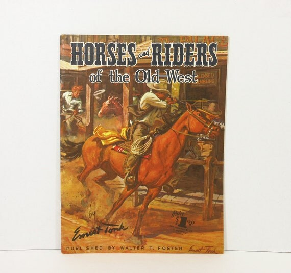 Vintage Walter Foster Art Book Horses Cowboys West Mid Century Illustrated USA PeachyChicBoutique on Etsy