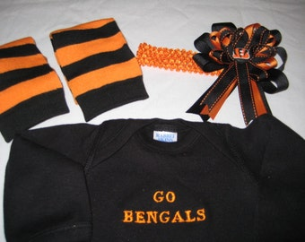 Bengals Baby Set - Onesie - Legwarmers - Headband - Little Bengals Fan From Head to Toe