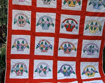 SALE  Vintage Handmade Quilt with Basket of Flowers Design Red Borders