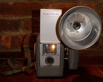 Mid Century Anscoflex Dual Lense Camera with Flash and Case