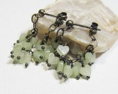 Oxidized Sterling Silver Gemstone Dangle Cluster Earrings with Pale Green New Jade