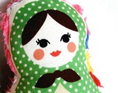Russian Doll  - Baby Rattle - Pocket Doll - Available in 5 bright colors