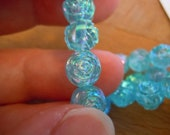 Sparkly Blue Roses - Vintage Plastic/Acrylic Beads with AB Light Finish For Jewelry and Crafts - ef27