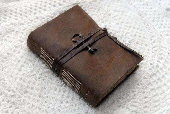 Postcards & Tea - Brown Leather Journal with Tea-Stained Pages, Old Postcards and Vintage Key