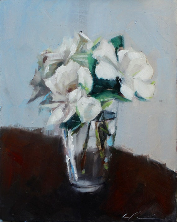 Bouquet of White Gardenias, Spring, on a Dark Brown Wood Table, Original Still Life Painting by Clair Hartmann